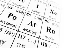 Astatine on the periodic table of the elements Stock Photo