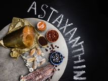 Astaxanthin Healthy Nutrition food. Rich with antioxidants, iodine royalty free stock photos
