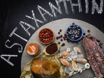 Astaxanthin Healthy Nutrition food. Rich with antioxidants, iodine royalty free stock images