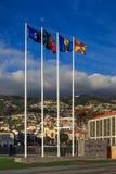 Aste della bandiera di Funchal Fotografie Stock Libere da Diritti
