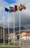 Aste della bandiera di Funchal Fotografia Stock Libera da Diritti