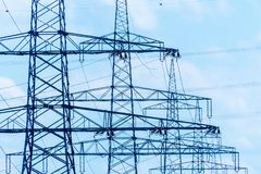 Asten power a high-voltage line Royalty Free Stock Photo