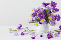 Aster amellus bouquet in ceramic vase. On white background royalty free stock photo