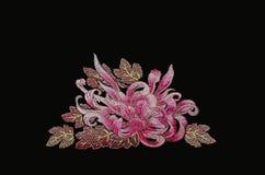 Aster för purpurfärgade rosa färger på svart Arkivbilder