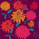 Aster flower with purple background. printing on fabric, clothing vector illustration