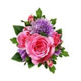 Aster i wzrastał kwiatu bukiet Zdjęcie Stock