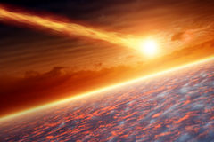 Asteriod impact. Abstract scientific background - asteroid impact planet earth