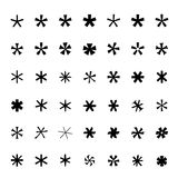 Asterisk (footnote, star) icons set Black icons  Vector illustration Stock Photos