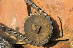 Asterisk and links the drive gear in the rays of bright sunshine Stock Image