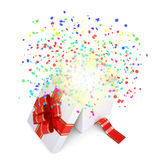 Asterisks fly from the open gift box Stock Photos