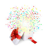 Asterisks fly from the open gift box Royalty Free Stock Image