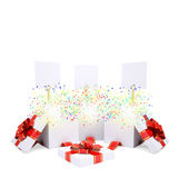 Asterisks fly from the open gift box Royalty Free Stock Photos