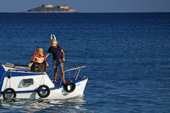 Asterix & Obelix. Asterix and Obelix on boat Stock Images