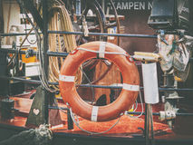 Astern. Rear view of a retro ship - rescue ring Stock Photos