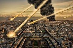 Asteroïde et terre : Incidence de météore Photos stock