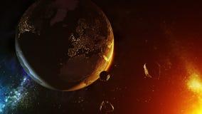 Asteroïde over Aarde royalty-vrije illustratie