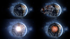 Asteroïde volant, météorite à la terre Espace extra-atmosphérique armageddon Photographie stock libre de droits