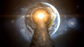 Asteroïde volant, météorite à la terre Espace extra-atmosphérique armageddon Photographie stock