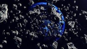 Asteroïden die aan de Aardeplaneet sluiten Apocalypsconcept stock illustratie