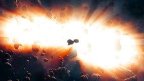 Asteroïden die dicht uit diepe ruimte komen stock illustratie