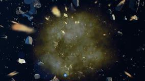 Asteroïden die in ruimte in botsing komen vector illustratie