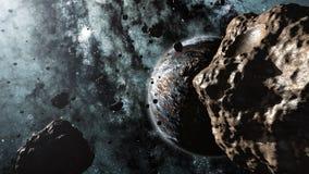 Asteroïden en een planeet 3d animatie stock illustratie