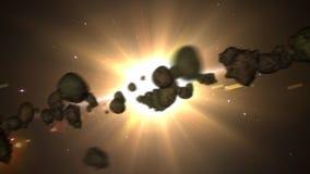 Asteroïden en zonlijn stock illustratie