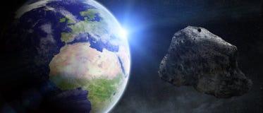 Asteroïdenbedreiging over aarde Stock Afbeelding