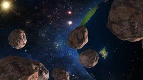 Asteroïdes approchant la terre Éléments de cette image meublés par la NASA illustration libre de droits