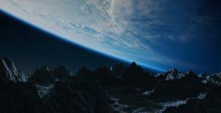 Asteroïdes volant près des éléments de rendu de la terre 3D de planète de illustration libre de droits