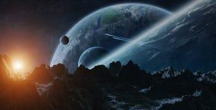 Asteroïdes volant près des éléments de rendu des planètes 3D de ceci Photos stock