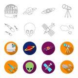 Asteroid, αυτοκίνητο, μετεωρίτης, διαστημικό σκάφος, σταθμός με τις ηλιακές μπαταρίες, το πρόσωπο ενός αλλοδαπού Διαστημικά καθορ Στοκ Φωτογραφία