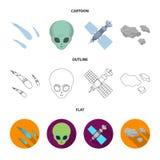 Asteroid, αυτοκίνητο, μετεωρίτης, διαστημικό σκάφος, σταθμός με τις ηλιακές μπαταρίες, το πρόσωπο ενός αλλοδαπού Διαστημικά καθορ Στοκ εικόνα με δικαίωμα ελεύθερης χρήσης