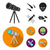 Asteroid, αυτοκίνητο, μετεωρίτης, διαστημικό σκάφος, σταθμός με τις ηλιακές μπαταρίες, το πρόσωπο ενός αλλοδαπού Διαστημικά καθορ Στοκ Εικόνες