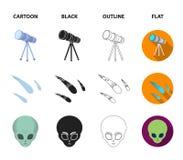 Asteroid, αυτοκίνητο, μετεωρίτης, διαστημικό σκάφος, σταθμός με τις ηλιακές μπαταρίες, το πρόσωπο ενός αλλοδαπού Διαστημικά καθορ Στοκ φωτογραφία με δικαίωμα ελεύθερης χρήσης