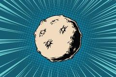 Asteroid με τους κρατήρες στο διάστημα Στοκ Φωτογραφίες