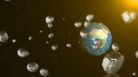 Asteroid στη διαστημική μύγα στη γη ελεύθερη απεικόνιση δικαιώματος