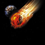 Asteroid. Flaming asteroid shooting through space Royalty Free Stock Images