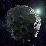 Asteroid. A high resolution image of an asteroid covered with craters Stock Image