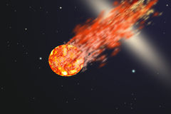 Asteroid. With tail of fire Stock Photos