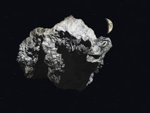 Asteroid. With the moon visible in the background Stock Photos