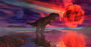Asteroid. 3d rendered image. T-rex and asteroid Royalty Free Stock Photo
