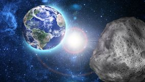 Asteroid approaching Royalty Free Stock Image