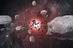 Asteroid belt in the outer space Stock Photo