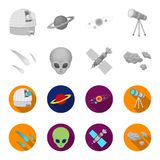Asteroid, car, meteorite, space ship, station with solar batteries, the face of an alien. Space set collection icons in. Monochrome,flat style vector symbol vector illustration