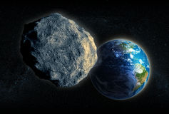 Asteroid closing in on Earth Stock Photo