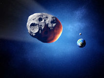 Asteroid on collision course with earth (Elements of this image Stock Images