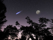 Asteroid or comet DA14 in the night sky scene Royalty Free Stock Image
