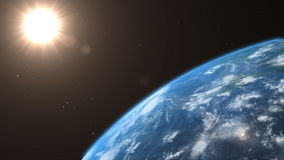 Asteroid crashes with the earth royalty free illustration