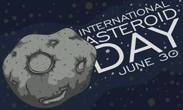 Asteroid Crossing the Belt during International Asteroid Day Celebration, Vector Illustration. Space view of the nearest asteroid belt to Earth and a close up stock illustration
